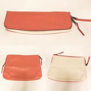 Splendid Leather Foldover Zip Clutch